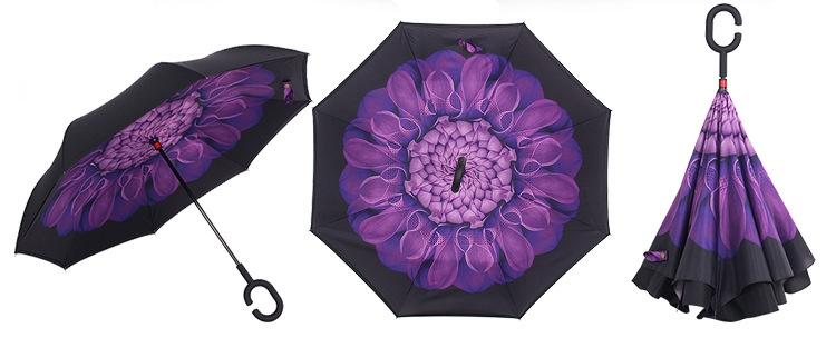 Holový deštník s funkcí převracení s potiskem fialového květu