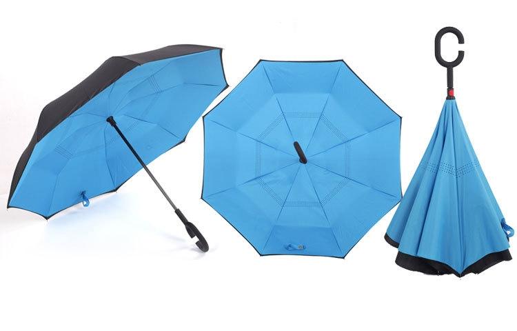 Holový deštník s funkcí převracení v azurovo-černém provedení
