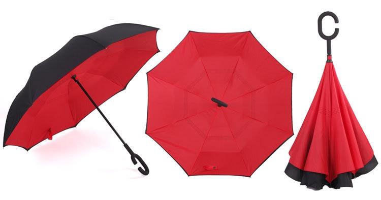 Holový deštník s funkcí převracení v červeno-černém provedení