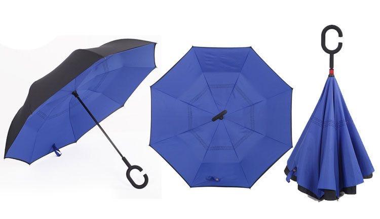 Holový deštník s funkcí převracení v modro-černém provedení