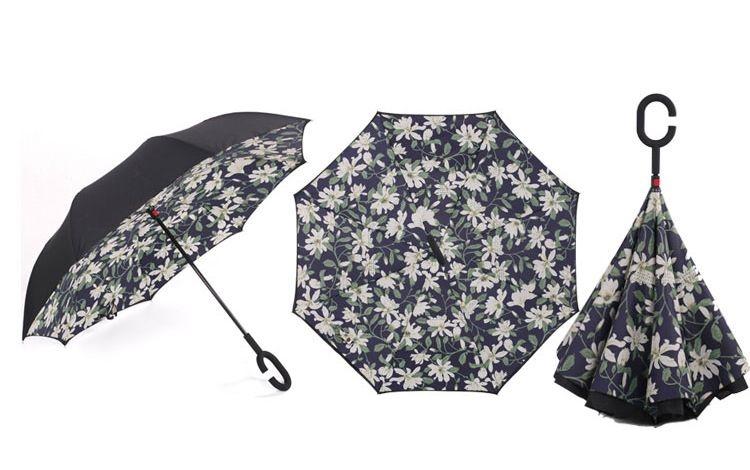 Holový deštník s funkcí převracení s potiskem bílých lilií