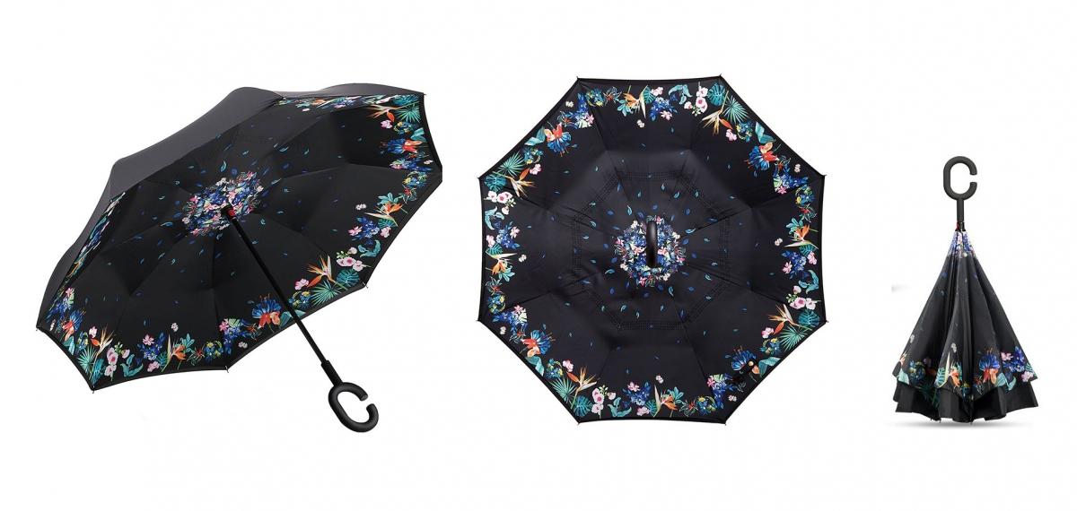 Holový deštník s funkcí převracení s tropickým potiskem