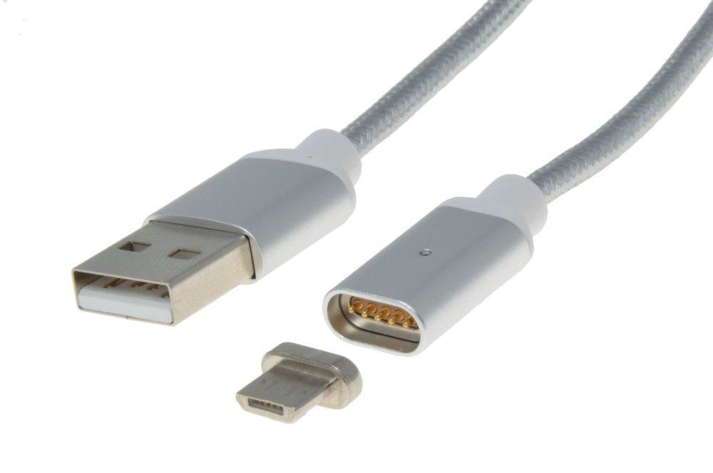 PremiumCord Magnetický micro USB 2.0, A-B nabíjecí a datový kabel 1m, stříbrný