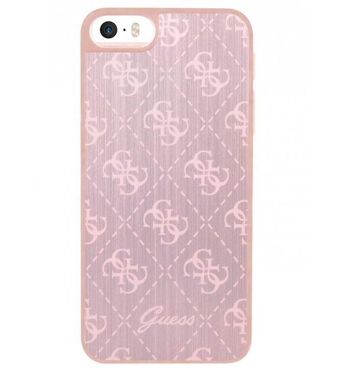 Zadní kryt Guess 4G Aluminium GUHCPSEMEPI pro iPhone 5/5S/SE - růžovo-zlatý GUHCPSEMEPI