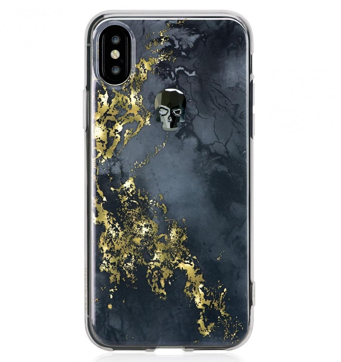 Zadní kryt Bling My Thing Treasure Onyx/Hematite Skull pro Apple iPhone X, krystaly Swarovski® IP8-TR-BK-JET