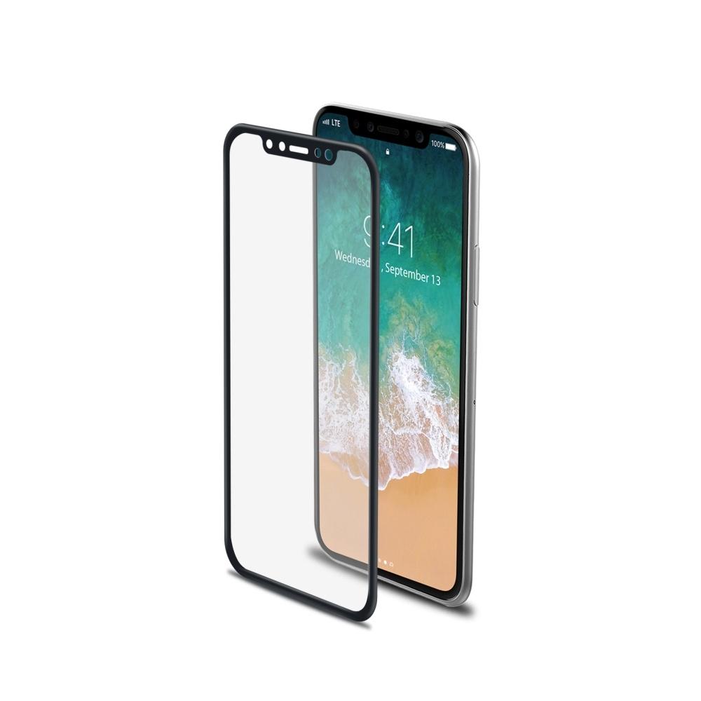 Ochranné tvrzené sklo CELLY Glass pro Apple iPhone X, černé (sklo do hran displeje, anti blue-ray) 3DGLASS900BK