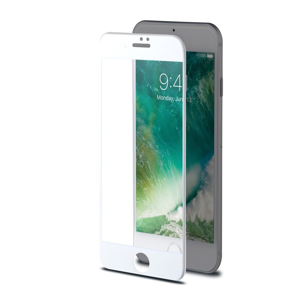 Ochranné tvrzené sklo CELLY Glass pro Apple iPhone 7/8, bílé (sklo do hran displeje, anti blue-ray) 3DGLASS800WH