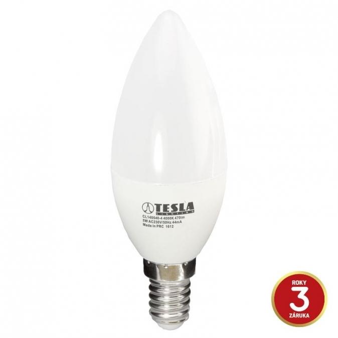LED žárovka TESLA CANDLE svíčka, 5W, E14, studená bílá