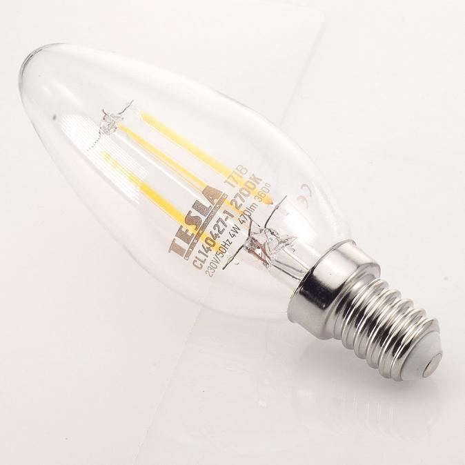 LED žárovka TESLA CRYSTAL RETRO svíčka 4W, E14, teplá bílá