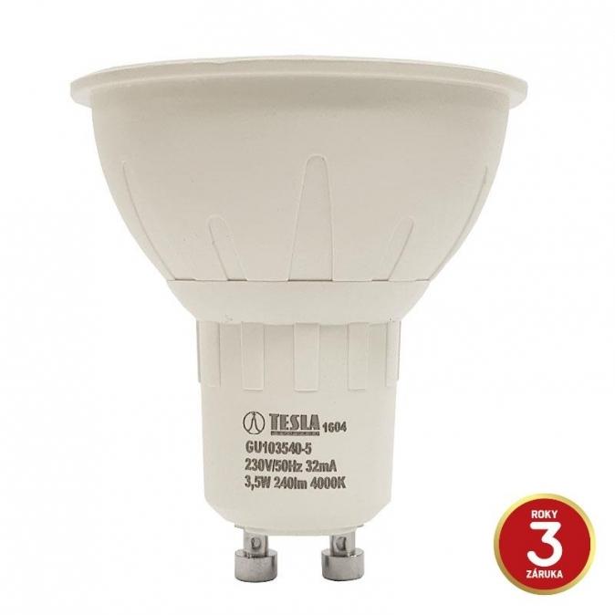 LED žárovka TESLA, 3,5W, GU10, studená bílá