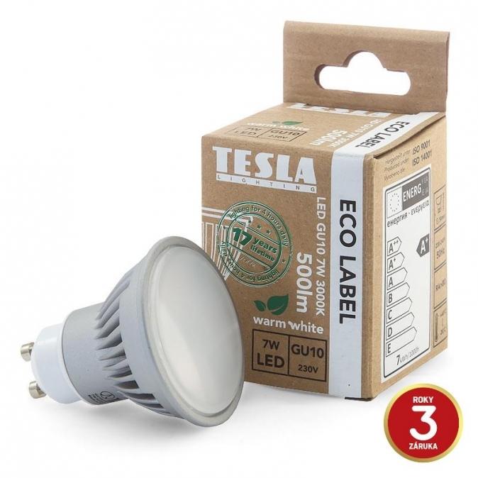 LED žárovka TESLA, 7W, GU10, teplá bílá