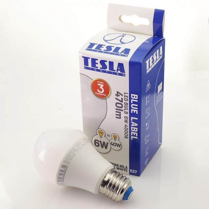 LED žárovka TESLA BULB, 6W, E27, studená bílá