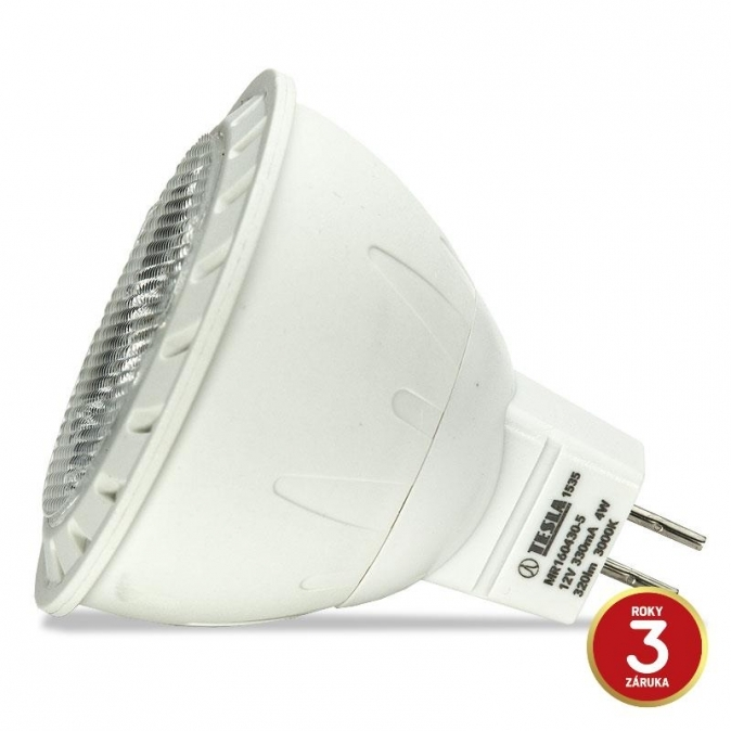 LED žárovka TESLA, 4W, GU5.3, teplá bílá