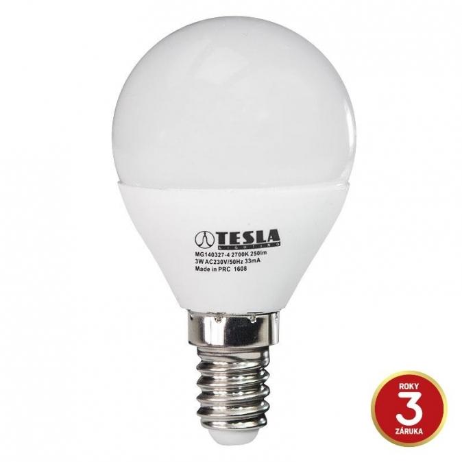 LED žárovka TESLA mini BULB, 3W, E14, teplá bílá