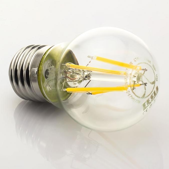 LED žárovka TESLA CRYSTAL RETRO miniglobe, 4W, E27, teplá bílá