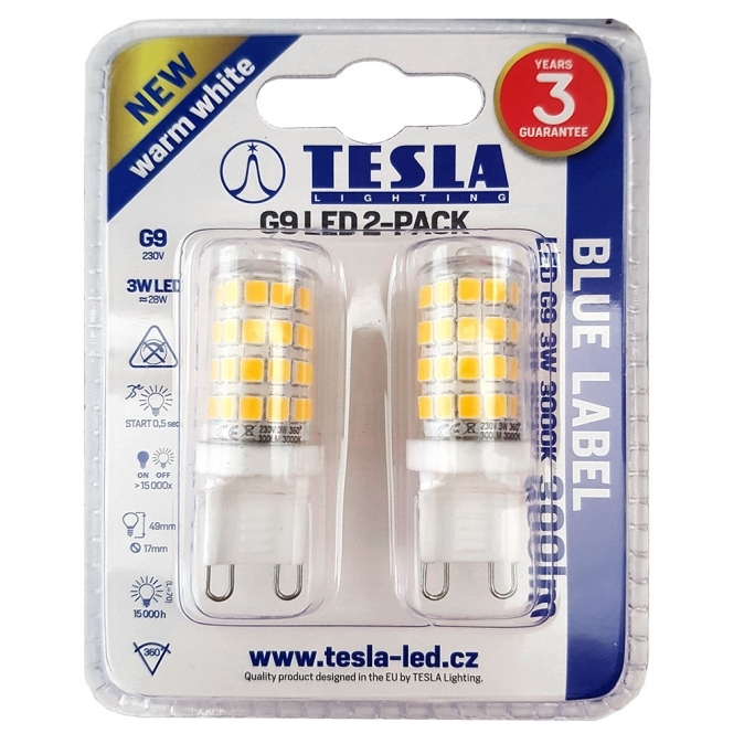 LED žárovka TESLA, 3W, G9, 3000K, teplá bílá - 2 kusy