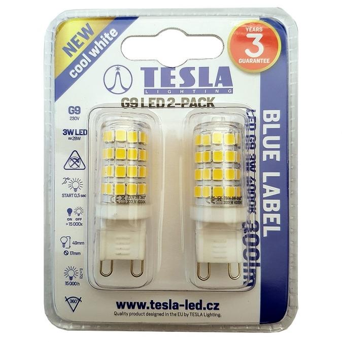 LED žárovka TESLA, 3W, G9, 4000 K, teplá bílá - 2 kusy