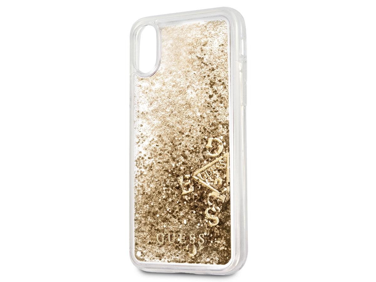 Zadní kryt Guess Liquid Glitter Gold GUHCPXGLUFLGO pro Apple iPhone X GUHCPXGLUFLGO