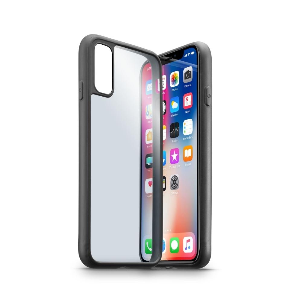 Ochranný rámeček CellularLine CONTOUR pro Apple iPhone X, transparentní záda, černý CONTOURCIPH8K