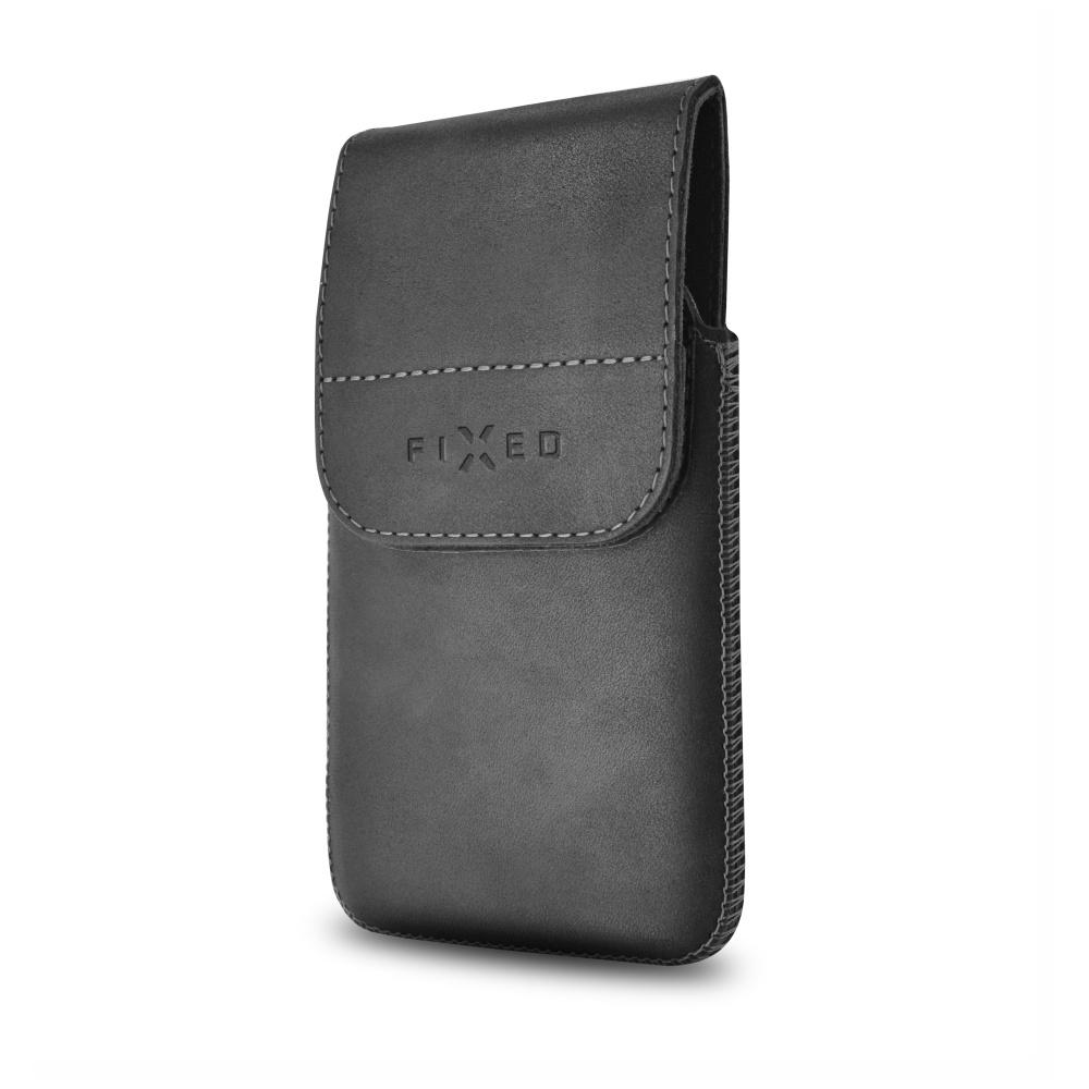 Kožené pouzdro FIXED Posh Pocket s klipem, velikost 4XL, černé RPPOP-001-4XL
