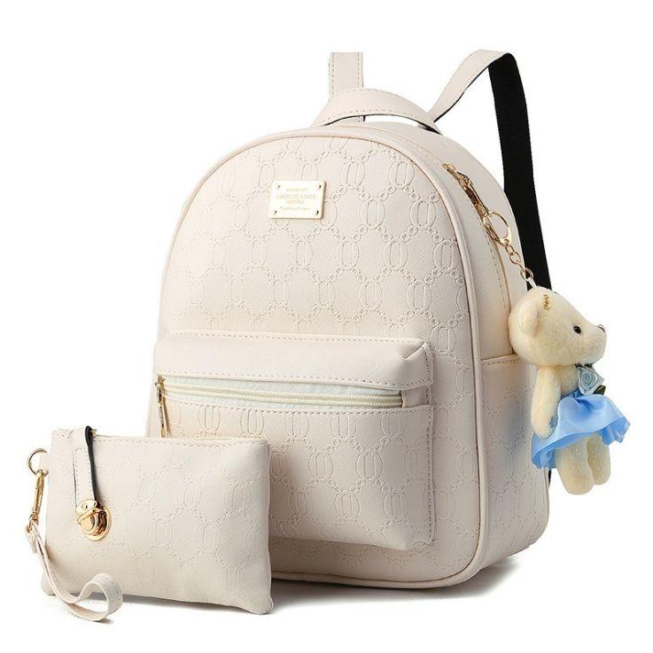 Módní batoh s béžovým medvídkem a taštičkou PL80, bílý