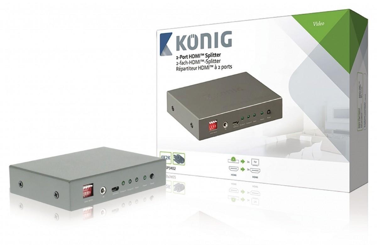 Rozbočovač HDMI 2-Port König KNVSP3402