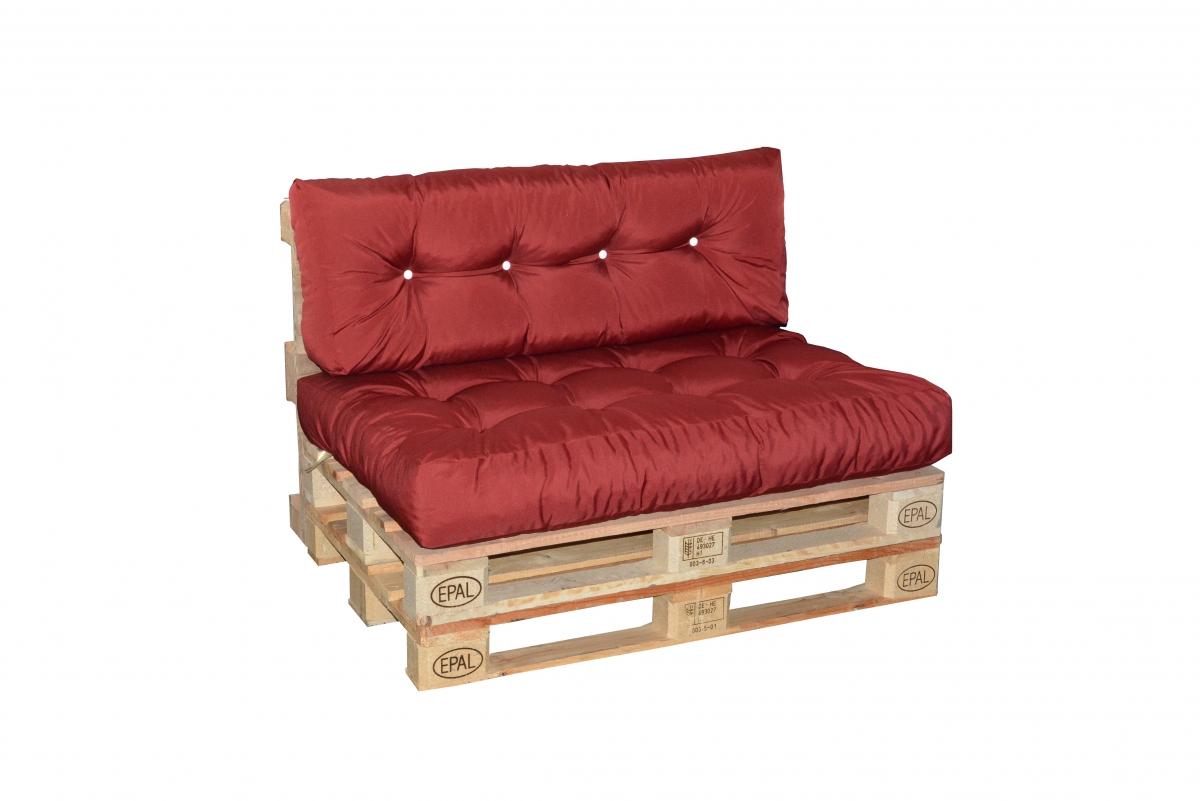 Paletové sezení s prošitím Doppler 7833, sedák + opěrka - Bordo