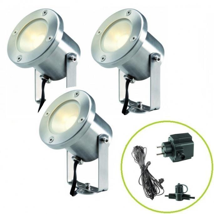 Set Garden Lights Catalpa - 3x LED svítidlo 3 W + trafo + kabel
