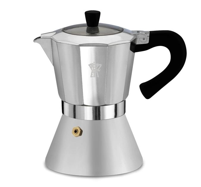 Pezzetti Bellexpress - hliníkový kávovar s okénkem, 6 šálků - stříbrná