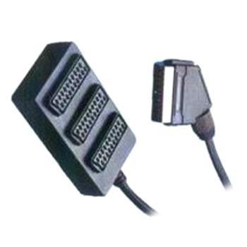 Adapter SCART-3xSCART F, kabel 0,5m