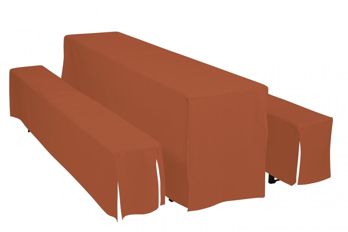 Potahy Doppler Hussen pro pivní soupravy, šířka stolu 70 cm - Terakota