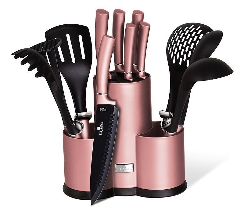 Sada nožů a kuchyňského náčiní ve stojanu 12 ks I-Rose Edition