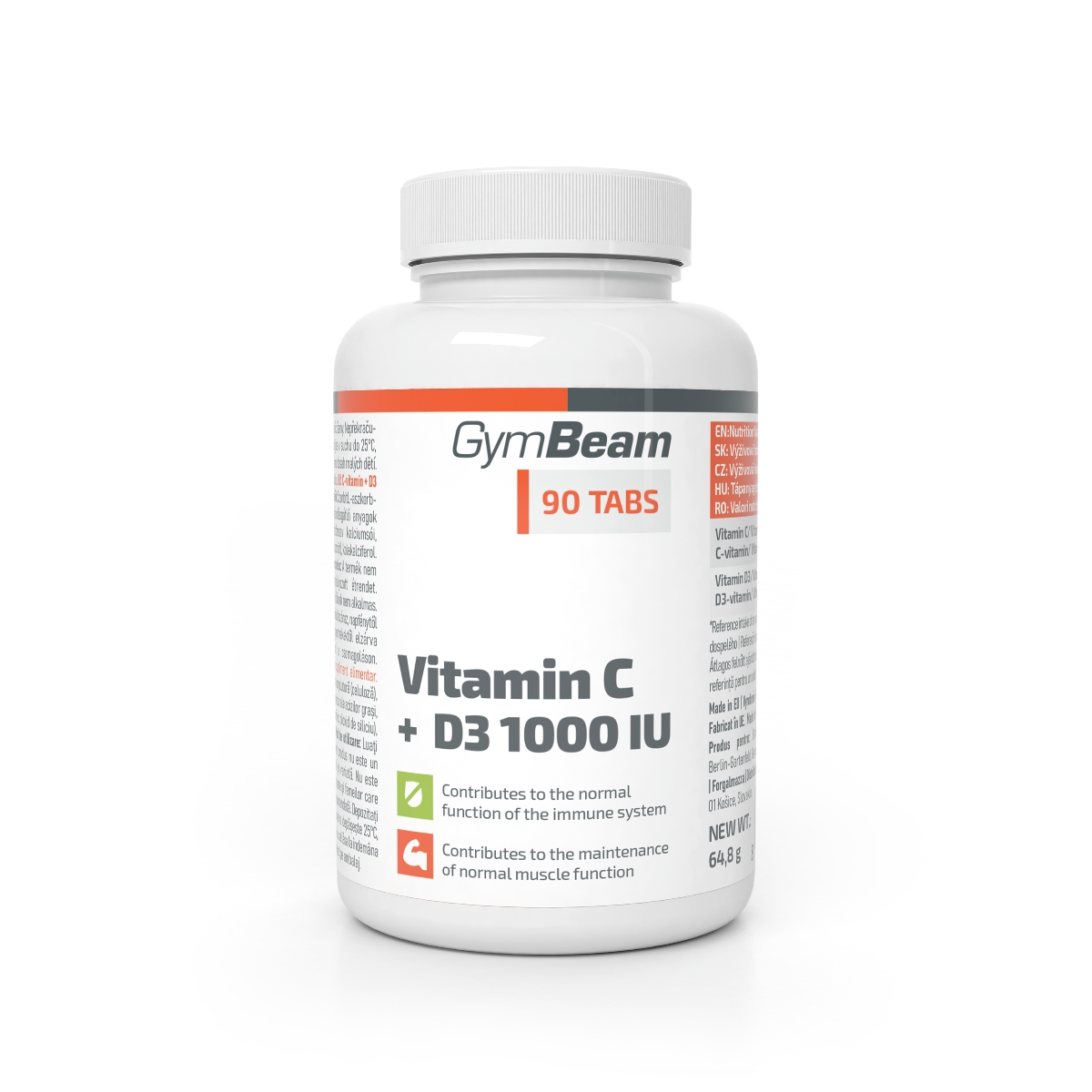 Vitamín C + D3 1000 IU - GymBeam, 90 tab.