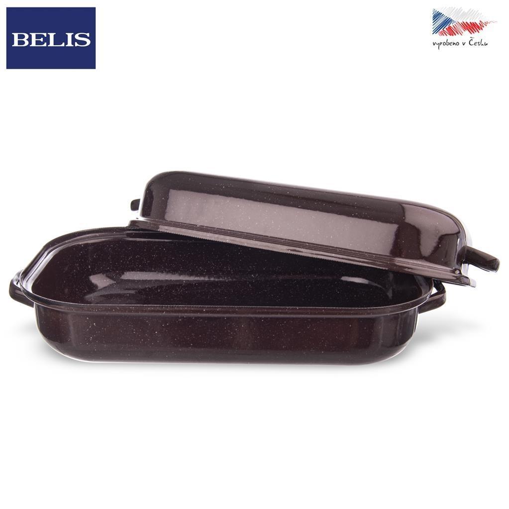 Pekáč smalt hnědý BELIS 32,5x20,5 cm víko