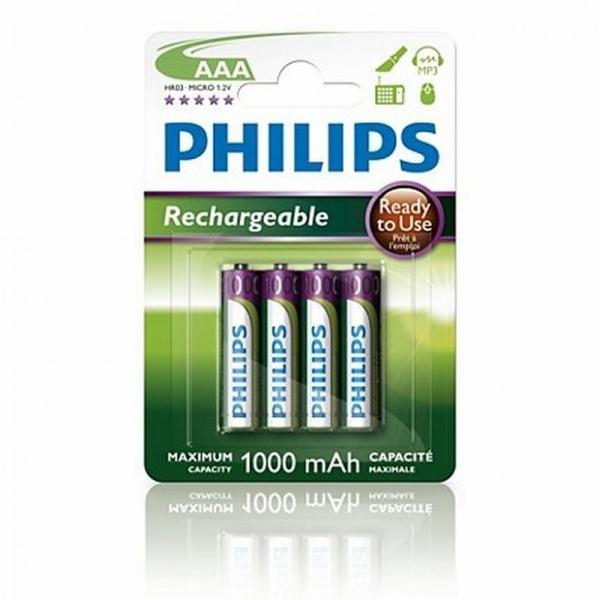 Nabíjecí baterie Philips MultiLife AAA 1000 mAh, 4ks